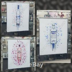 Vodka alcohol bottles with liquid art, crystals & mirror glass frame pictures