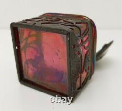 Vtg 1900 Art Nouveau Kralik Loetz Pink Oil Spot Iridescent Glass Inkwell 168180