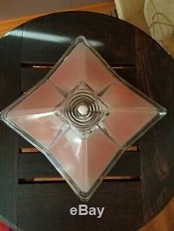 Vtg Art Deco 3D Design Frosted Pink/Clear Glass Shade Ceiling Light Fixture