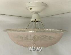 Vtg Art Deco Semi Flush Mount PINK Glass Ceiling Light Fixture Chandelier 30 40s