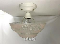 Vtg Art Deco Semi Flush Mount PINK Glass Ceiling Light Fixture Grapes 20s 30 40s