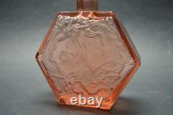 Vtg Czech Art Deco Pink Glass Perfume Bottle with Lovers Rudolf Hlousek