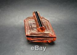 Vtg Czech Art Deco Trinket Box, Pink Glass Black Enamel Karl Palda