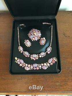 Vtg D&E JULIANA Pink Art Glass Parure Necklace Bracelet Brooch Earrings Book