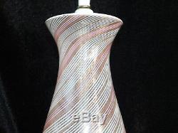 Vtg Mid Century AURELIANO TOSO Venetian Filigrana PINK MURANO DINO MARTENS Lamp