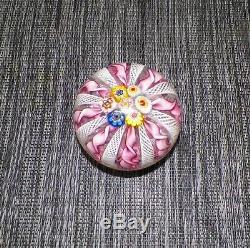 Vtg Murano Italy Hand Made Art Glass Paperweight Pink Ribbons Millfiori Top
