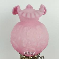 Vtg PINK Fenton Lamp Satin Pink Puffy Poppy Flowers Rose NEW WIRING Outstanding