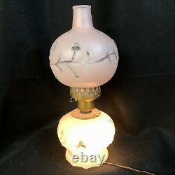 Vtg Pink Glass GWTW Parlor Lamp Ball Globe 3 way Art Deco Embossed Clear Floral