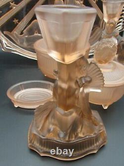 Walther & Sohne Art Deco PIERROT & PIERRETTE Pink Glass 6 Piece Dressing Set