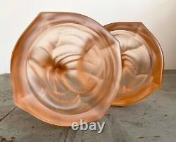Walther & Sohne Art Deco Pink Glass Nymphen Mermaid Candlesticks 1930s Antique
