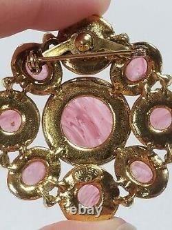 Weiss vintage brooch pin pink swirling gripoix cabochons art glass cluster