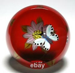 William Manson Snr. Spotted Butterfly & Pink Flower Upright Faceted Paperweight