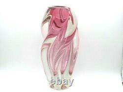 XL vintage Pink sommerso twisted freeform sculptural art glass vase Czech 60s