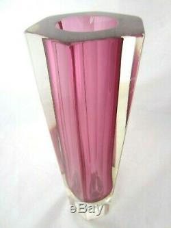 XXL 30cm Vintage Murano mandruzzato pink hexagon sommerso block vase 2.7KG